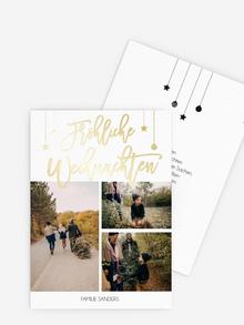Weihnachtskarte in Dunkelblau mit goldener Folie für Ihr Business