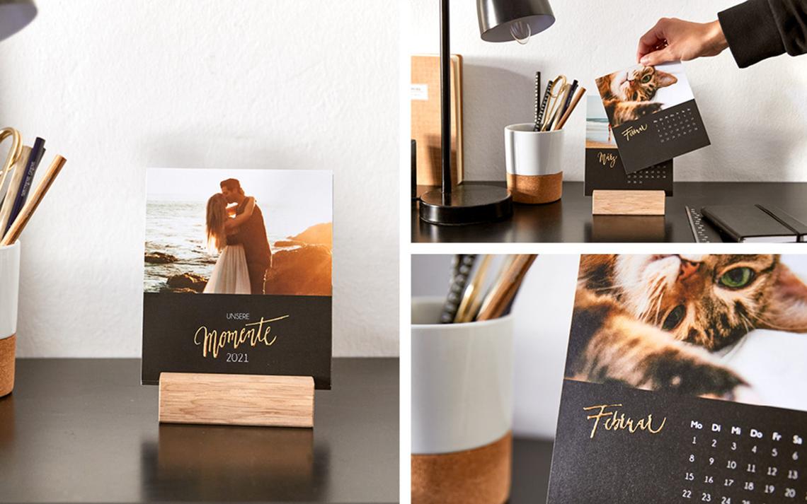 Fotogeschenke Ideen für eure Lieben: Tischkalender gestalten und mit Goldfolie veredeln