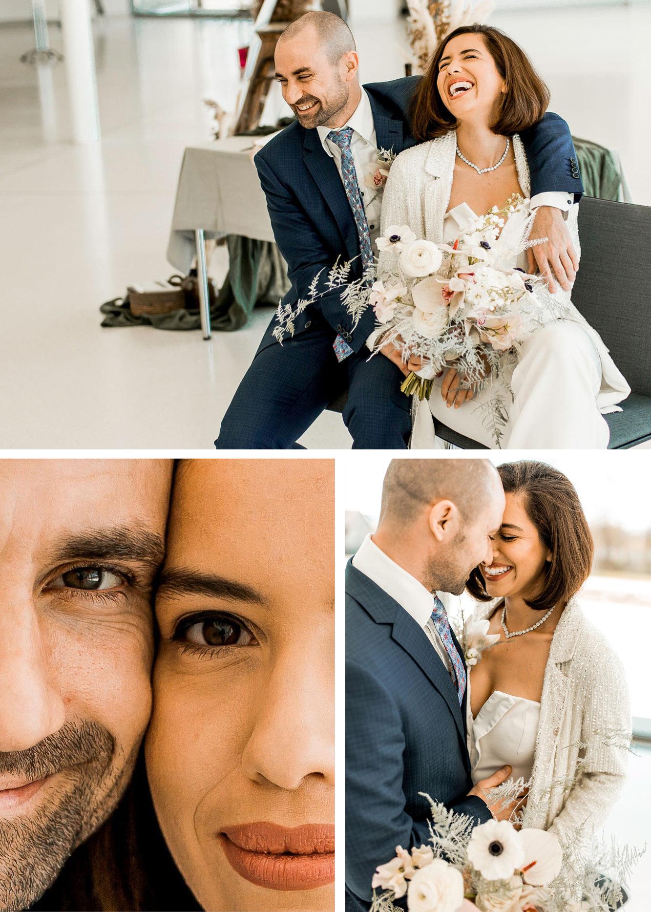 Hochzeitspaar sitzt zusammen, Collage mit unterschiedlichen Perspektinve