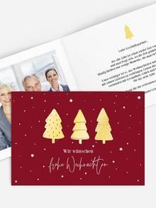 Geschäftliche Weihnachtskarte als Klappkarte mit Relieflack