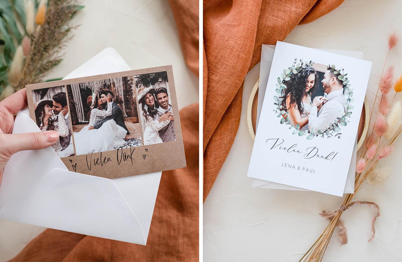 Dankeskarten zur Hochzeit im modernen Design mit Bild des Brautpaares.
