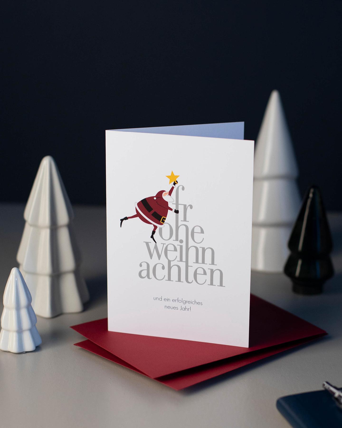 Humorvolle Weihnachtskarte mit Weihnachtsmann Motiv.