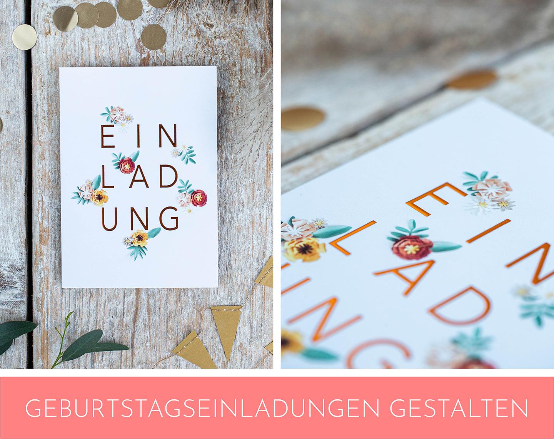 Einladungskarte zum Geburtstag im floralen Muster.