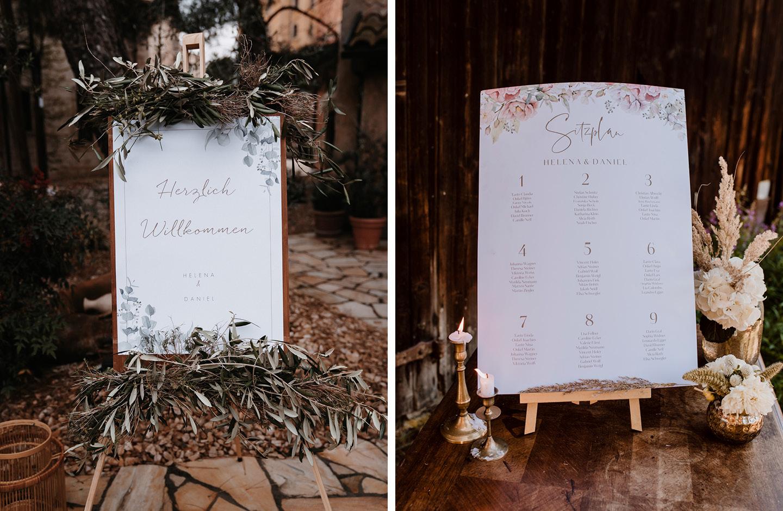 Willkommensschild und Sitzplan für eine Hochzeit