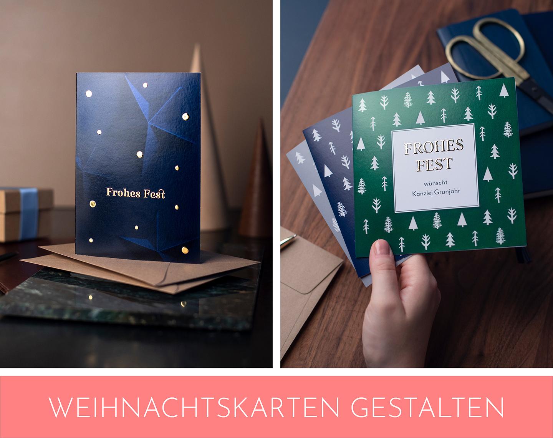 Geschäftliche Weihnachtskarten in Dunkelblau und Grün mit hochwertiger Folienveredelung.
