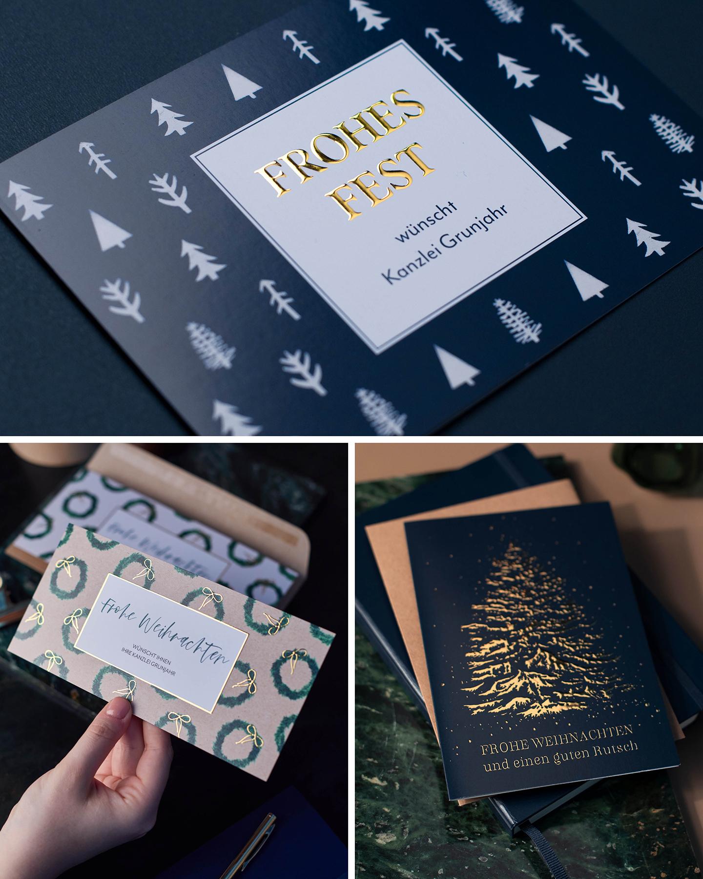Verschiedene Weihnachtskarten für geschäftliche Anlässe mit goldener Veredelung.