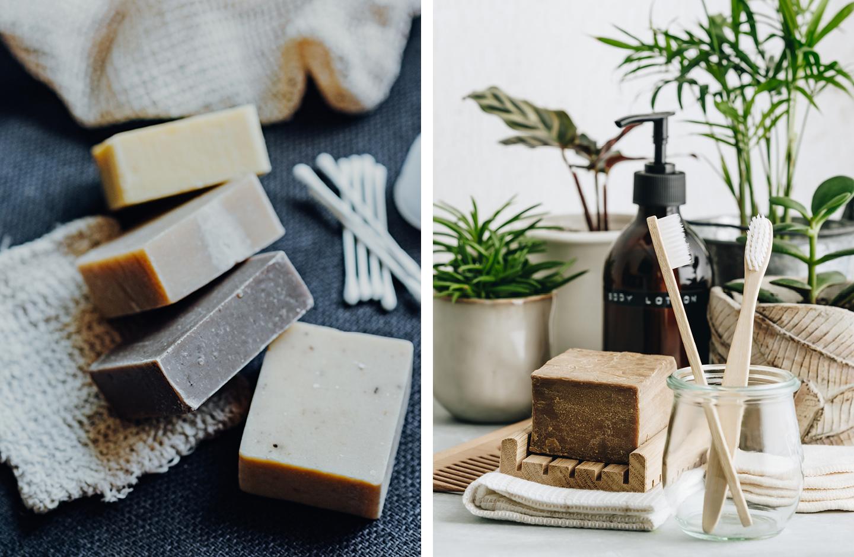 Nachhaltigkeit als Familie im Badezimmer: Bambuszahnbürste und Seife stehen vor grünen Pflanzen.