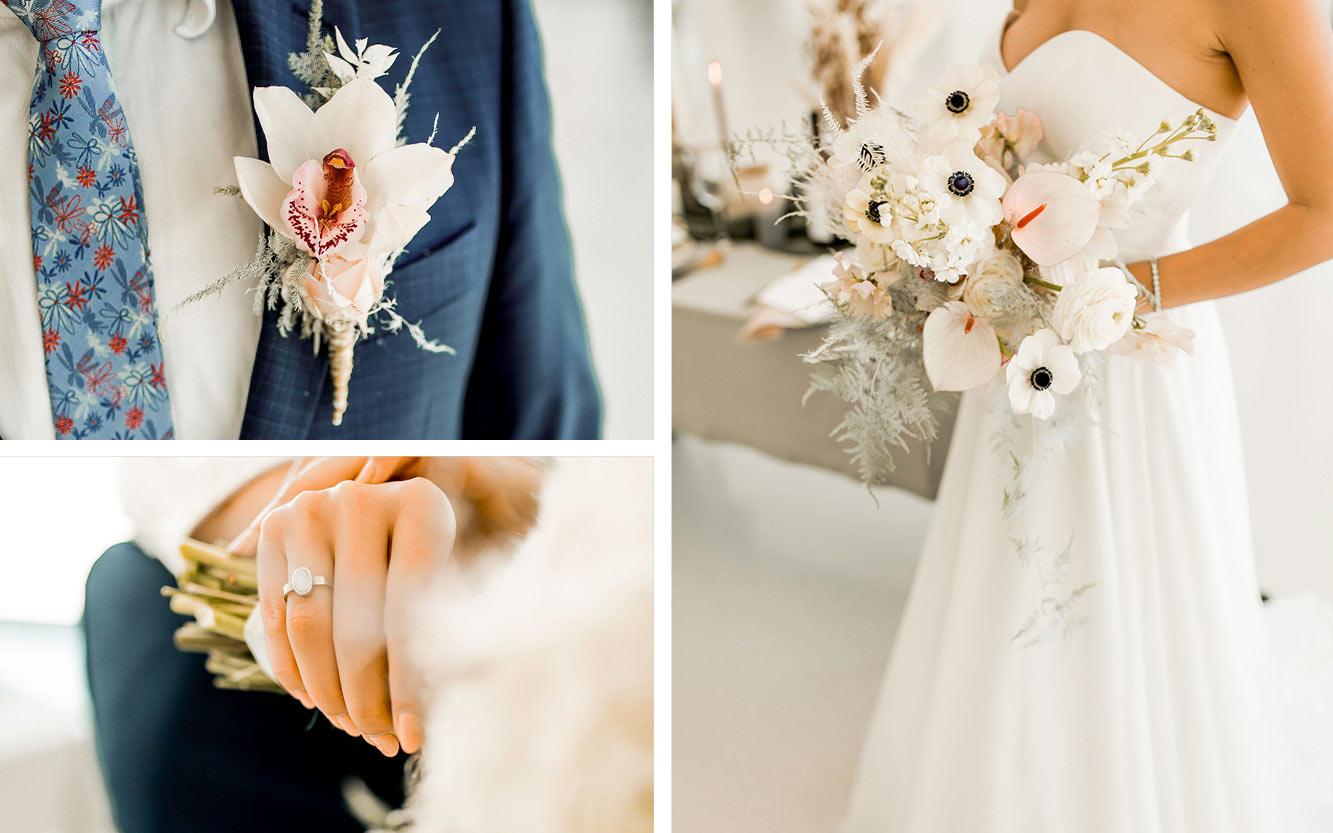 Anzug, Brautkleid im minimalistischen Stil