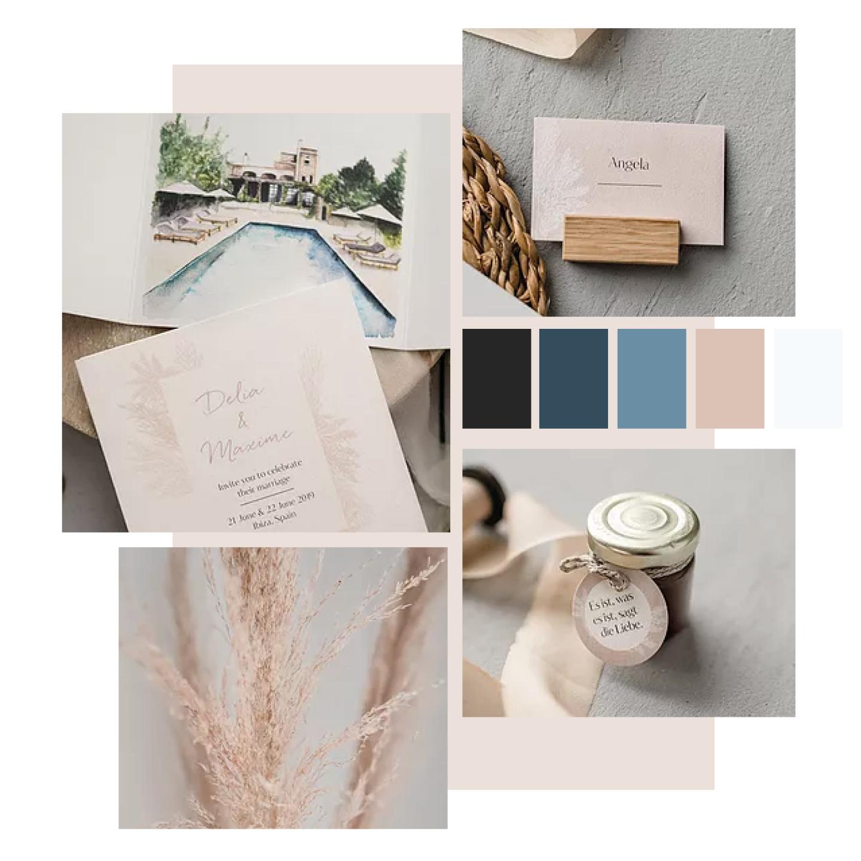 Collage aus mehreren Bildern mit Hochzeitspapeterie in Grau und Rosa.