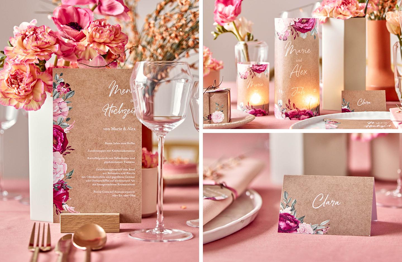 Hochzeitspapeterie für den Tisch in floralem Design