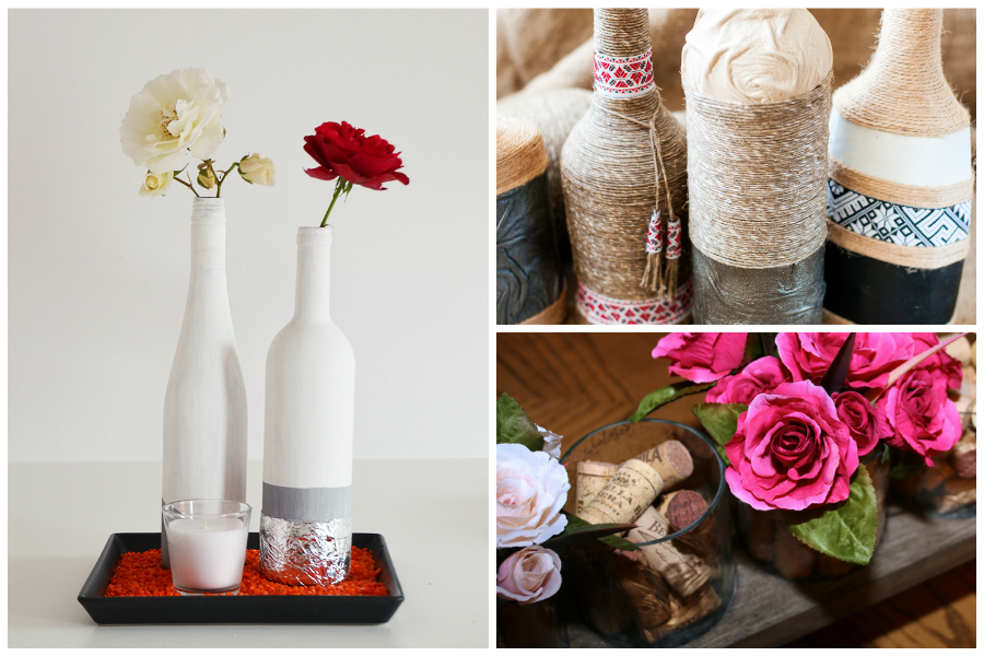 Tischdeko aus Weinflaschen und Korken
