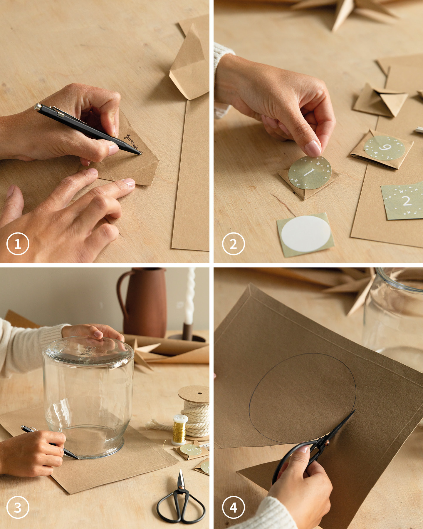 Aus Papier werden kleine Vierecke für einen selbst gemachten Adventskalender geschnitten.