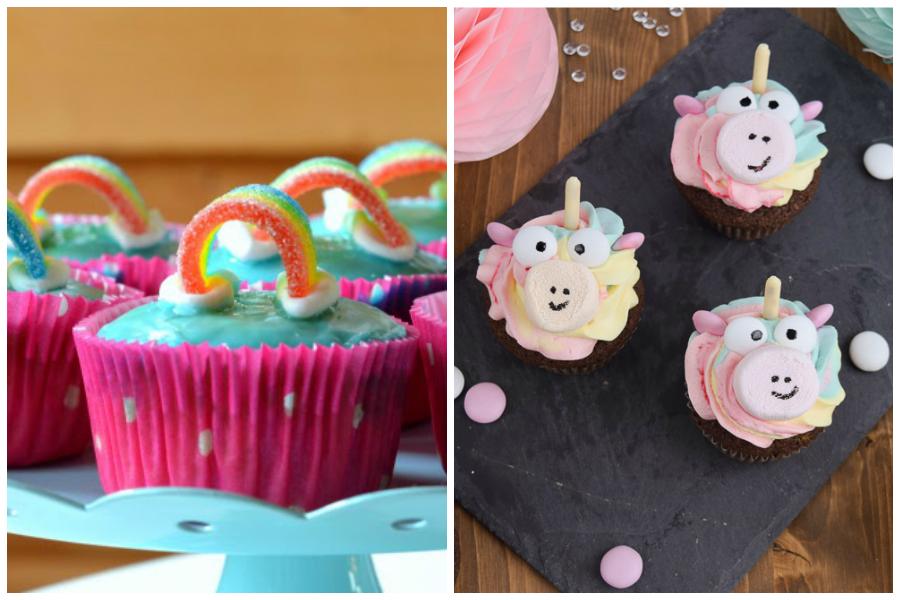 Regenbogenmuffins und Einhorncupcakes