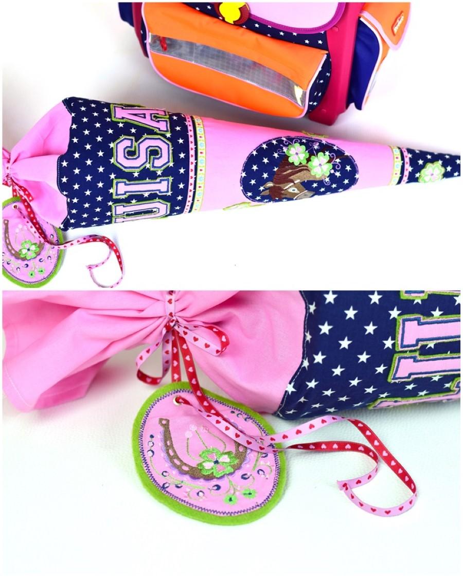 Schultüte für Mädchen in blau-rosa von LillesolundPelle