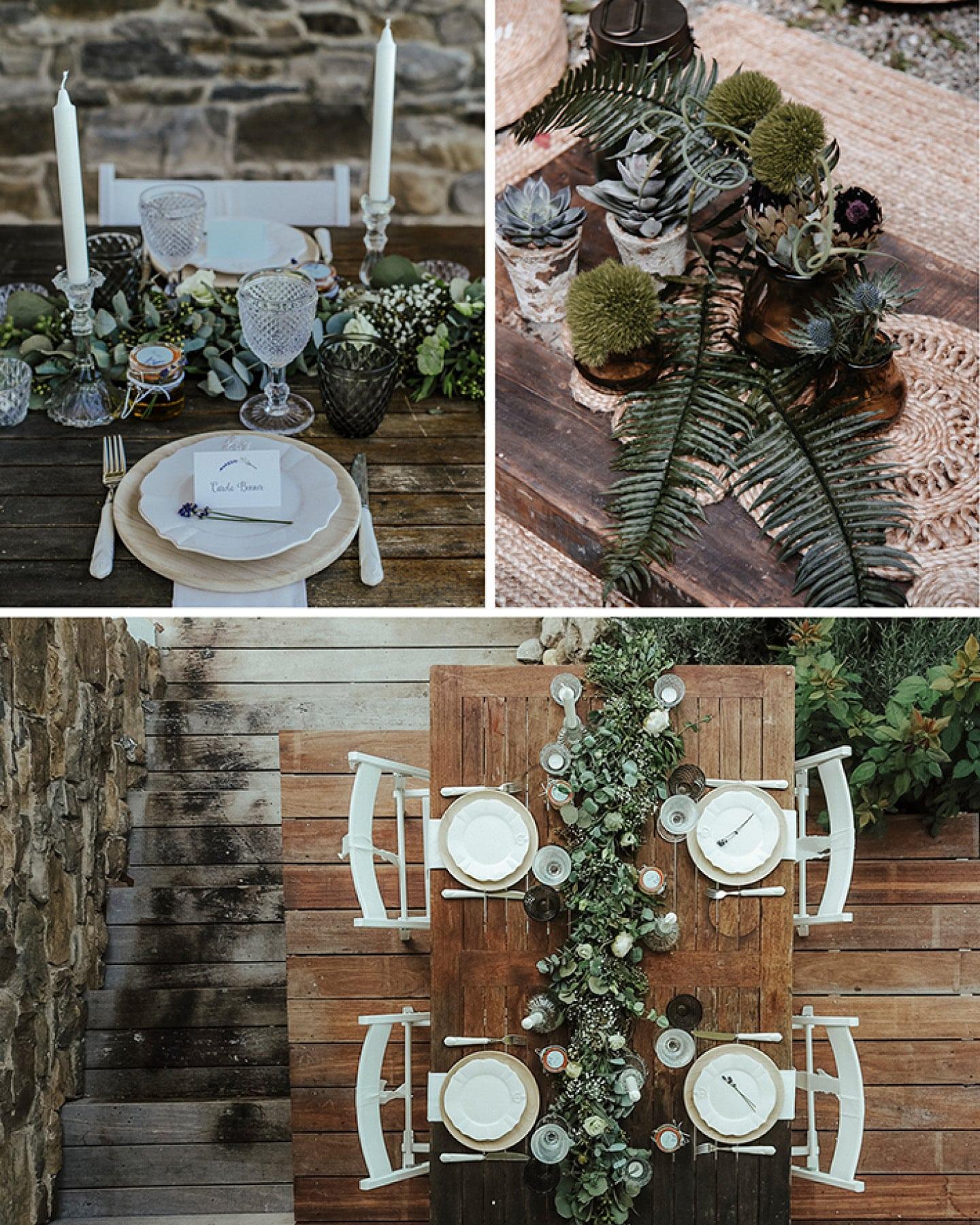 Hochzeitsdeko mit Blattgrün und weißen Blüten