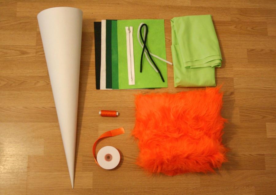 Benötigte Materialien um eine Schultüte zu nähen.