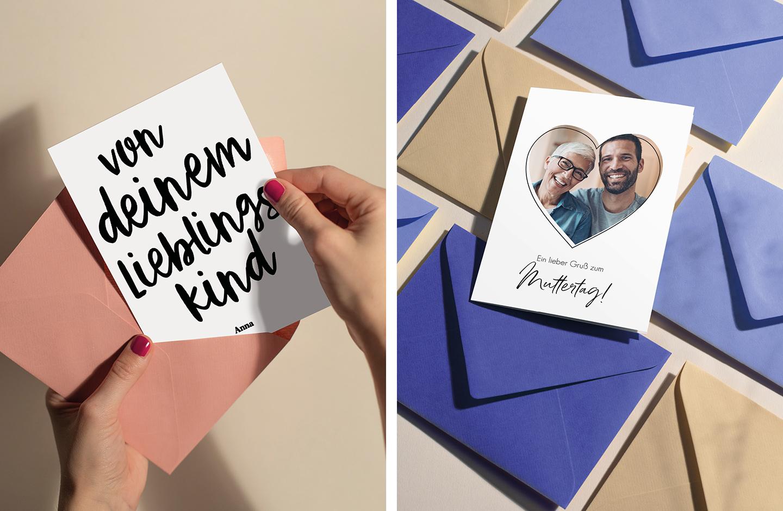Karte zum Muttertag wird aus einem rosanem Umschlag geholt.