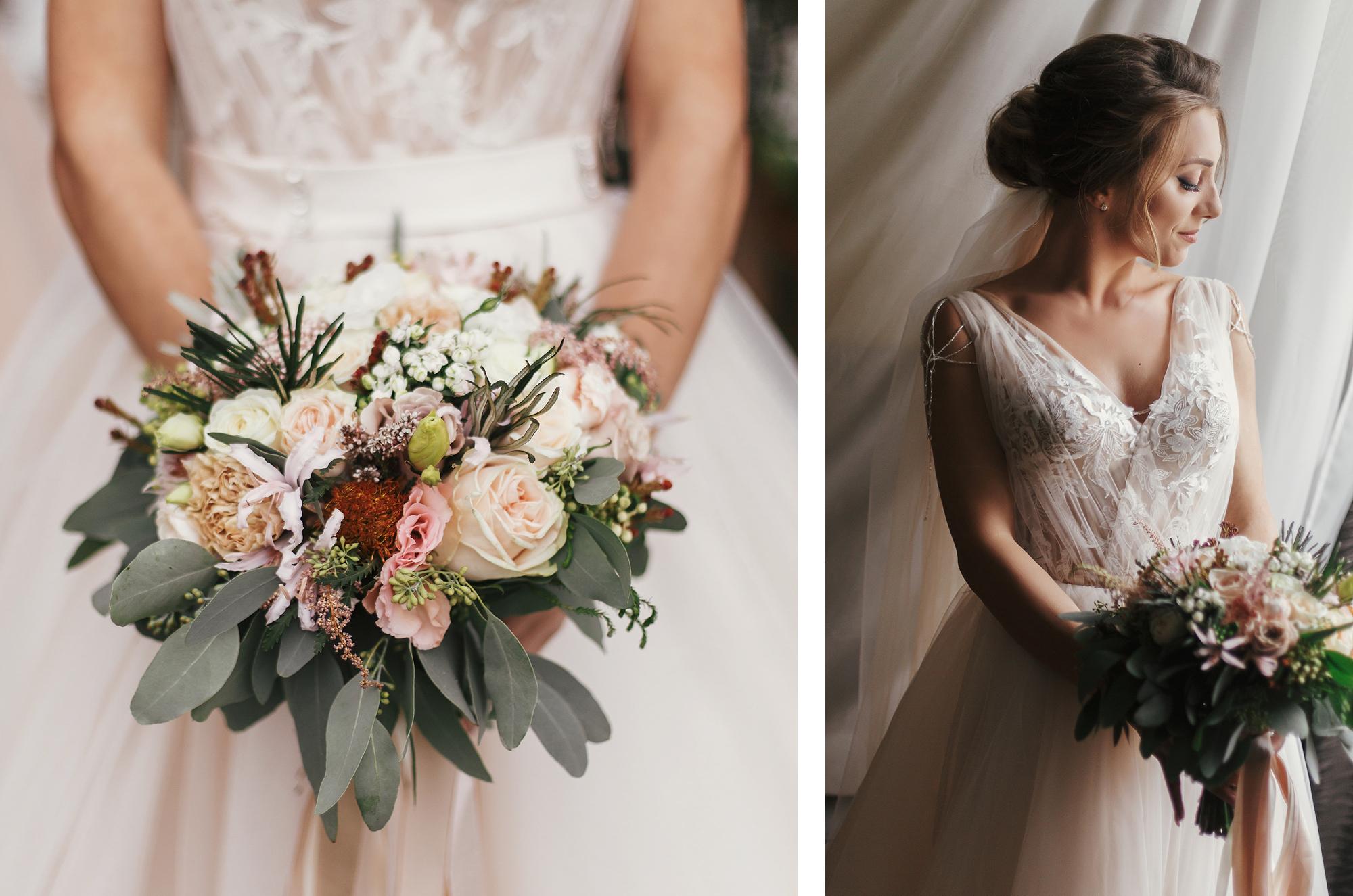 Braut mit zartem Braustrauß aus Pfingstrosen, Olivenblättern und Wildblumen