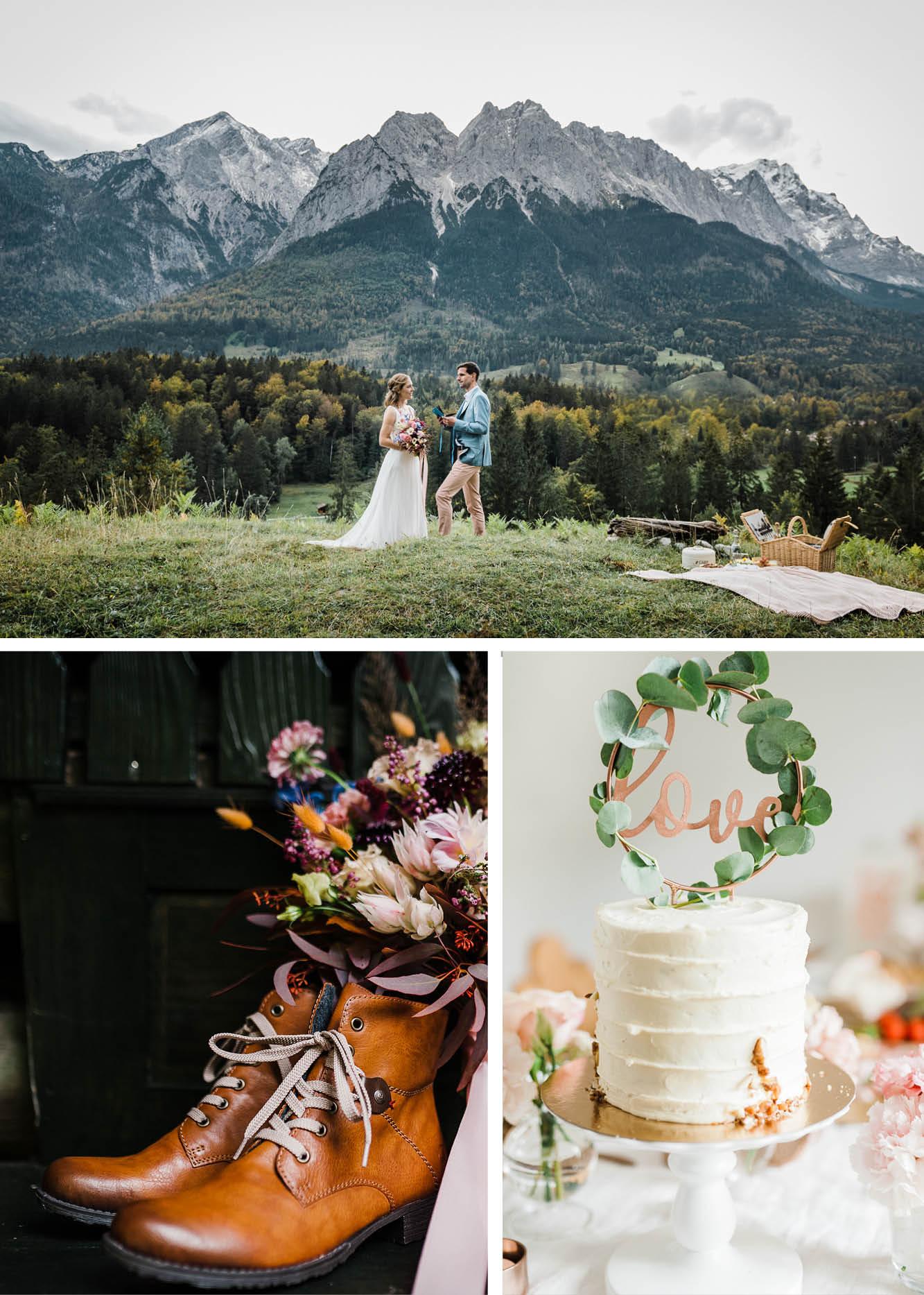 Hochzeit in den Bergen, Elopement, Dekoration,Schuhe, Hochzeitstorte