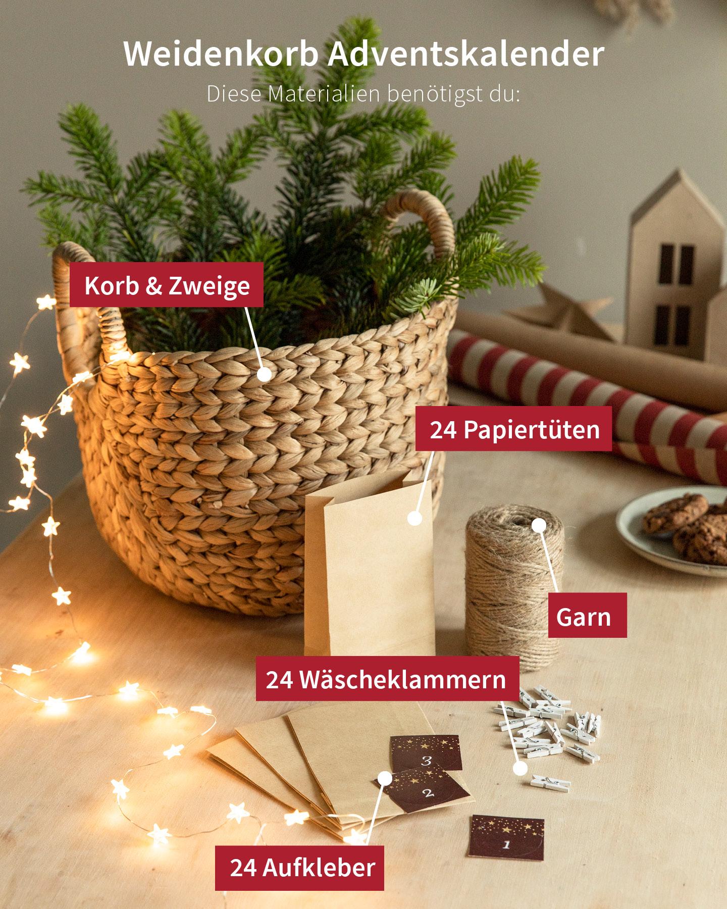 Materialien für einen Adventskalender mit Papiertüten stehen auf einem Tisch.