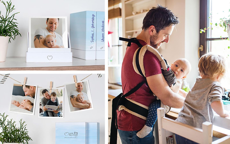 Retro Bilder mit Fotos von aus dem Familienalltag von Vater und Söhnen als Geschenkidee platziert.