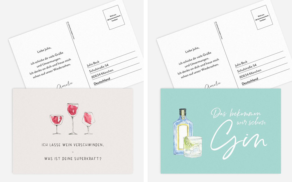 Postkarte Illustrationen Gin und Wein