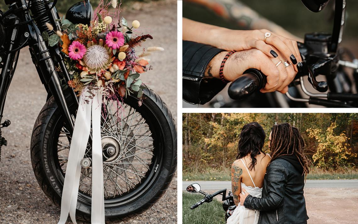 Details einer Bikerhochzeit in einer Collage aus drei Bildern festgehalten: die mit Blumen geschmückten Harley-Reifen, die Hände des Brautpaares und das Paar auf dem Motorrad.