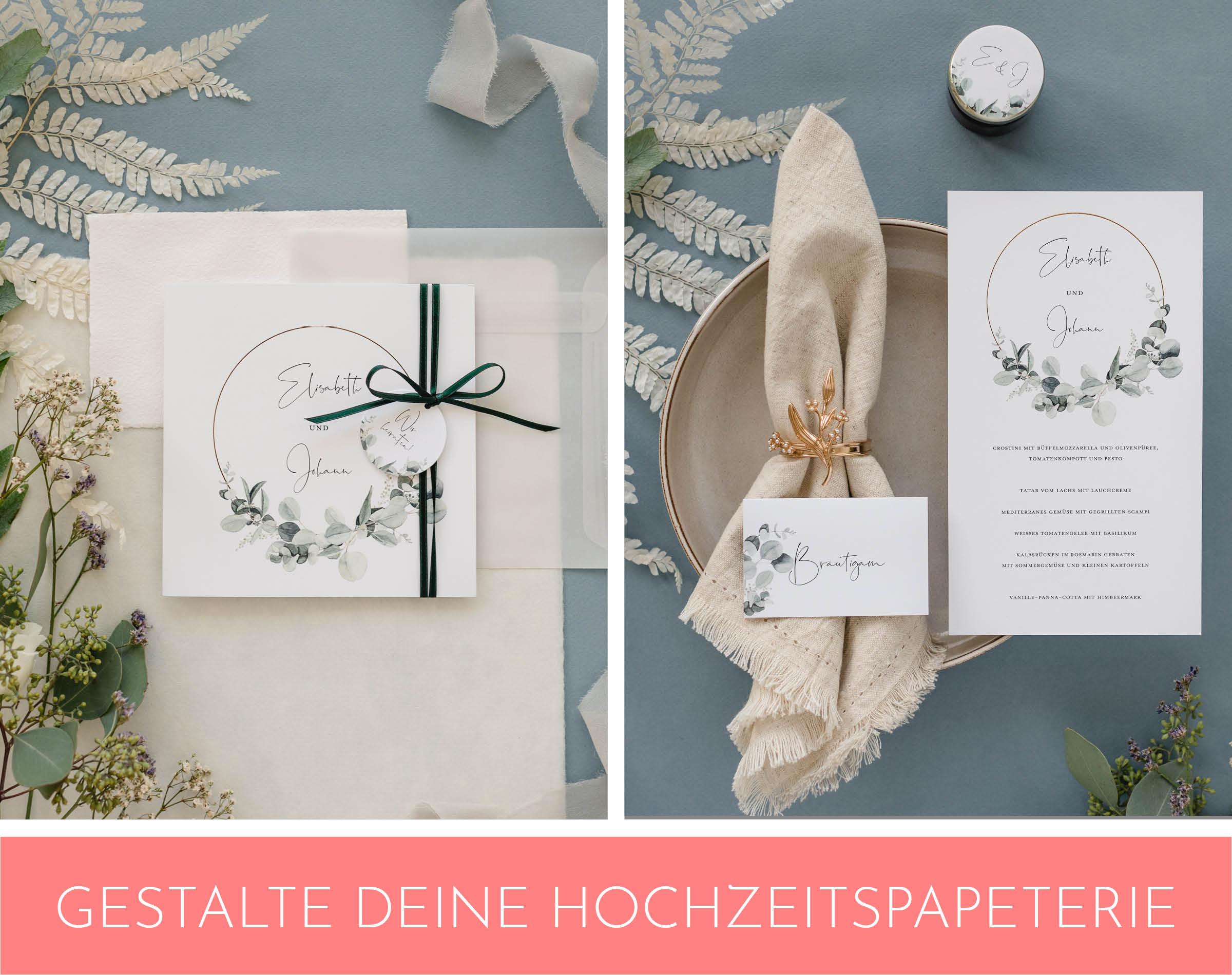 Hochzeitspapeterie mit Eukalyptus Verzierungen.