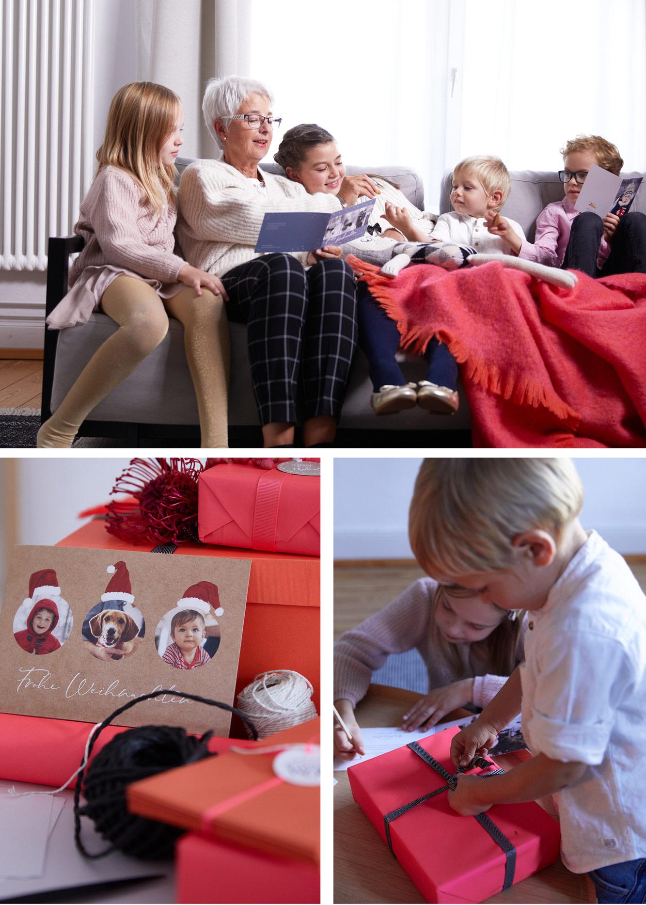 Weihnachtskarten zu Weihnachten, Omi liest vor