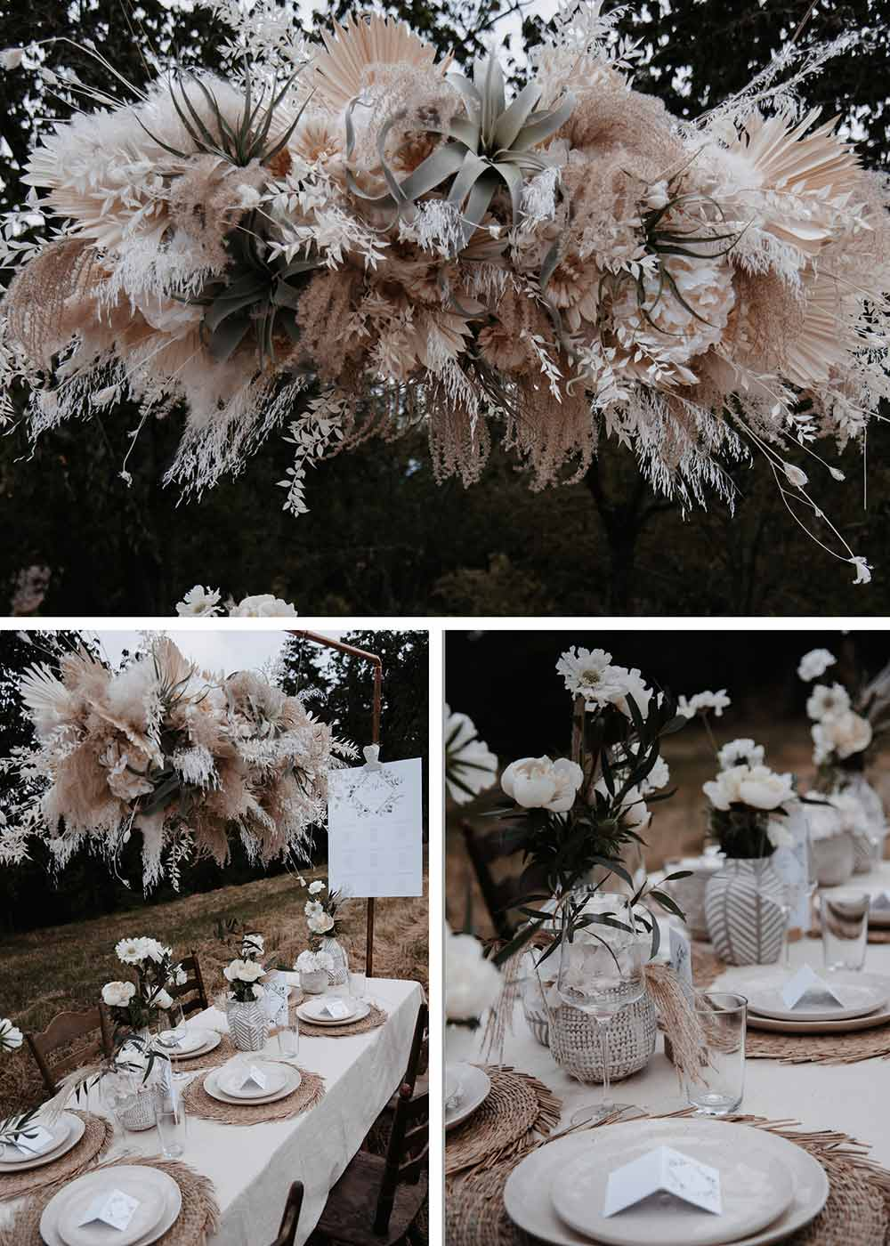 Die auffällige Blumendeko an den Hochzeitstischen ist. ein richtiger Eyecatcher. Über den Tischen hängen zauberhafte Gestecke aus wilden Blumen und Gräsern in beige, passend zur restlichen Deko.
