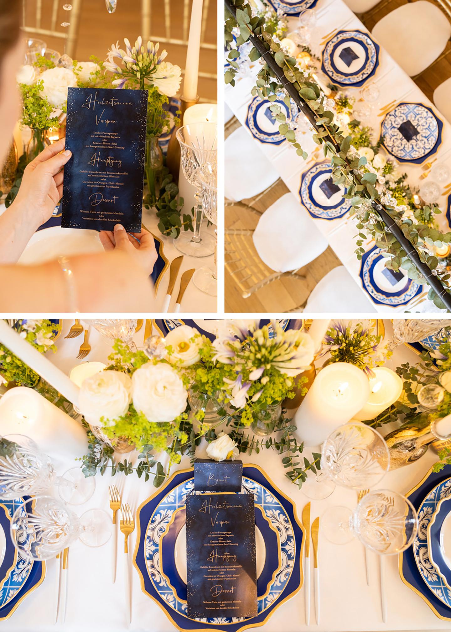 Klassisch angerichtete Hochzeitstafel in unterschiedlichen Blautönen, detailreiche Teller mit Muster, Deko in grün und Papeterie in Dunkelblau, passend zur Hochzeitsdeko, ist zu sehen.
