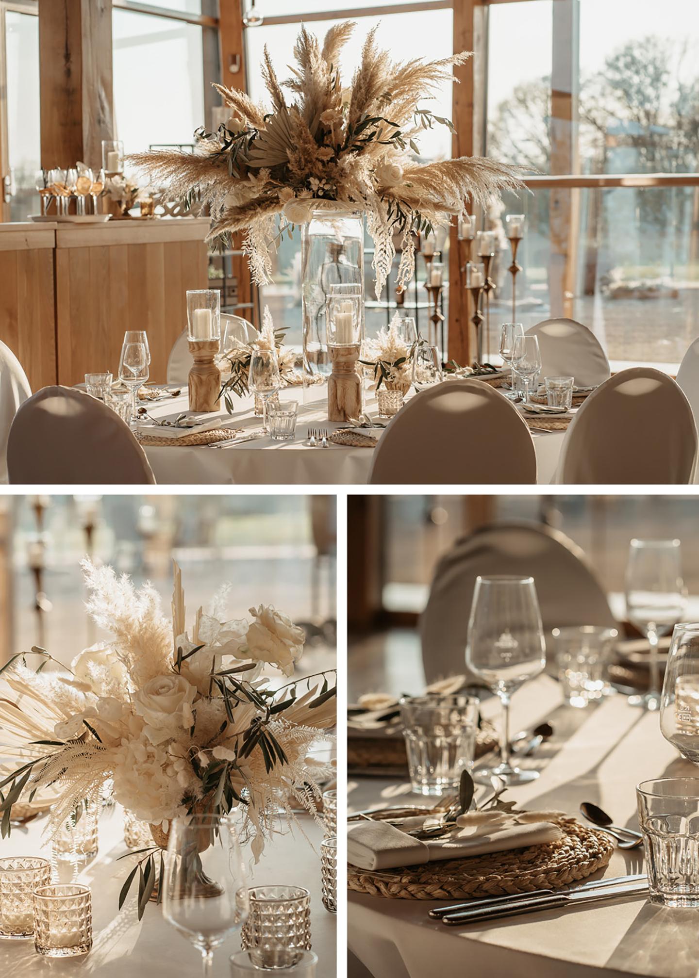 Auch am Hochzeitstisch findet sich neben den dekorierten, gedeckten Plätzen, überall Pampasgras.
