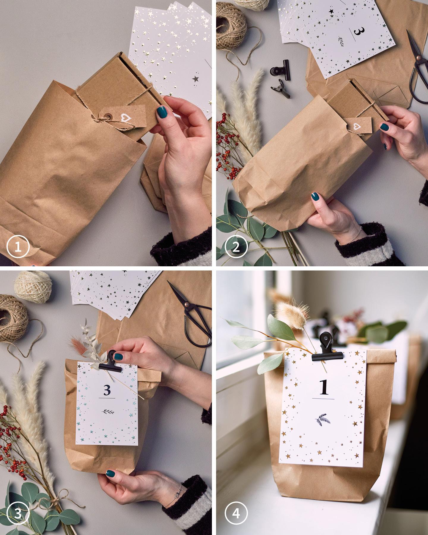In vier Schritten wird gezeigt, wie Papiertüten mit Inhalten für einen selbst gemachten Aventskalender gefüllt werden.