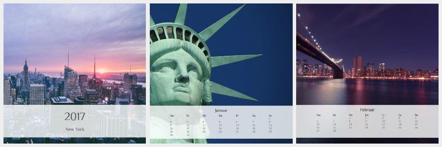 Bildreich-Kalender der Kartenmacherei: New York