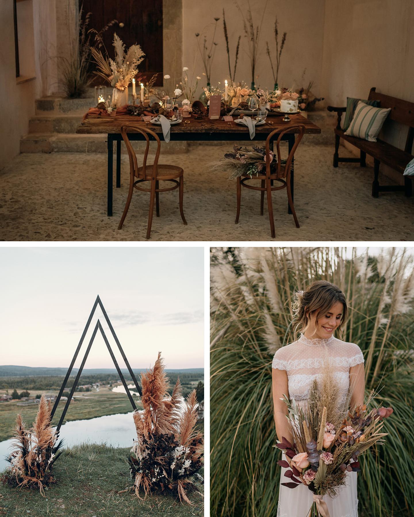 Hochzeistafel, Brautstrauß und Traubogen sind mit Pampasgras und Trockenblume als Hochzeitstrend 2021 dekoriert.