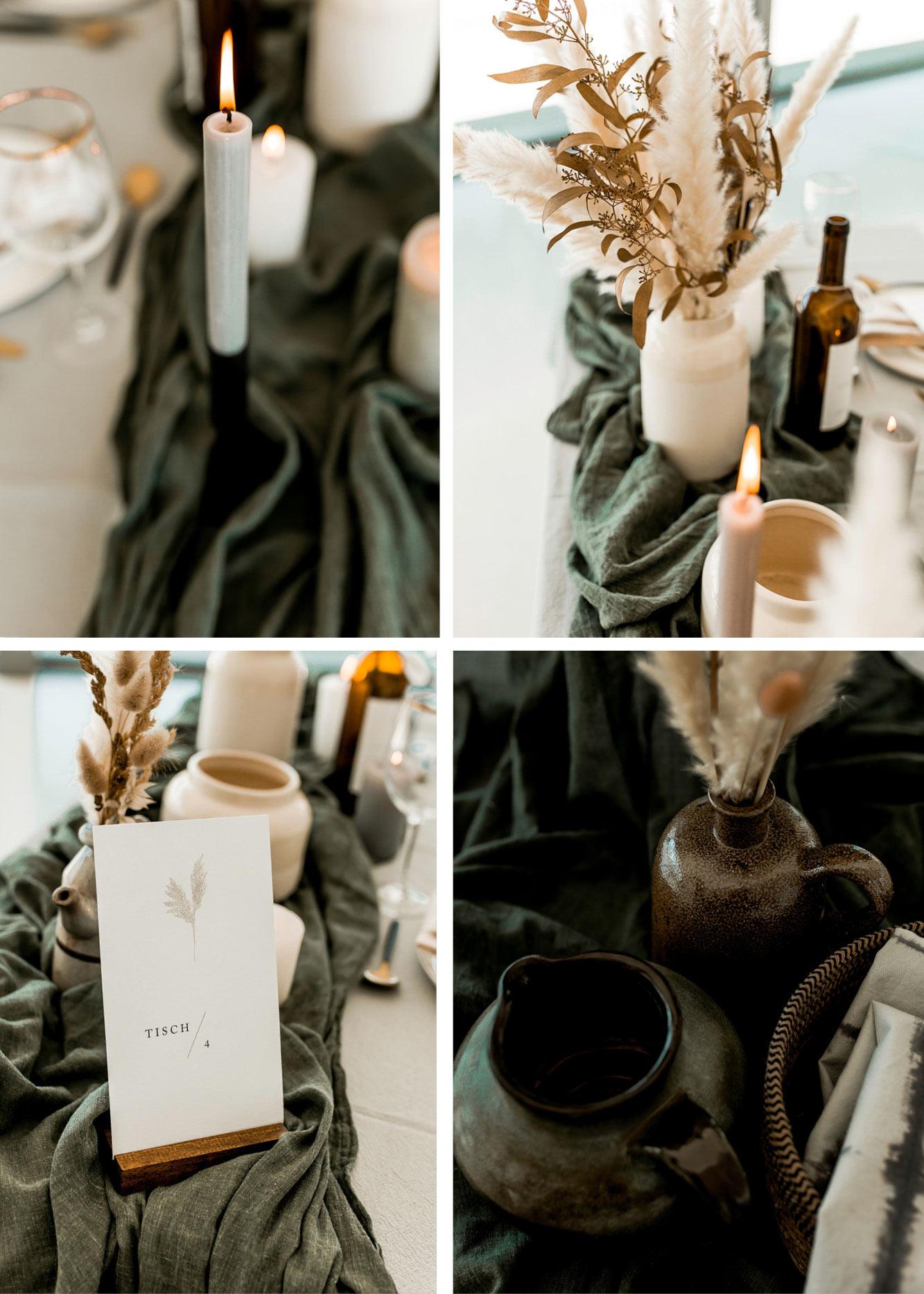 Tischdekoration aus beige und grauen Leinen, Mitteltischdecke in olive grün, auf dem Tisch stehen Kerzen, Tongefäße und Pampasgra.