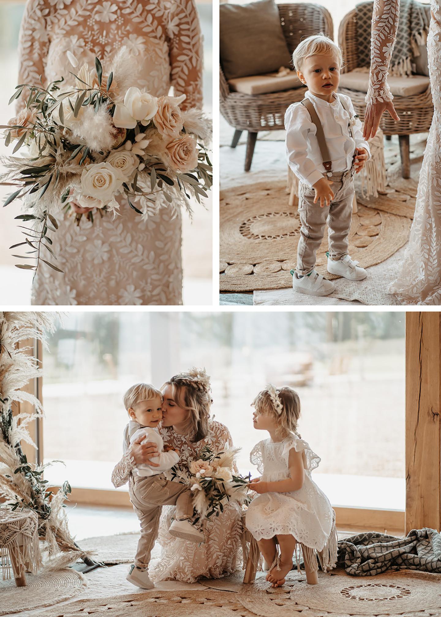Die Collage aus drei Bildern zeigt Impressionen aus dem Shooting der Braut mit ihren zwei kleinen Kindern. Überall ist die Hochzeit mit Pampasgras dekoriert.