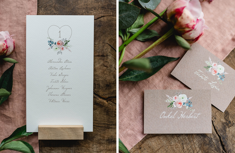 Tischpapeterie Hochzeit im floralen Design