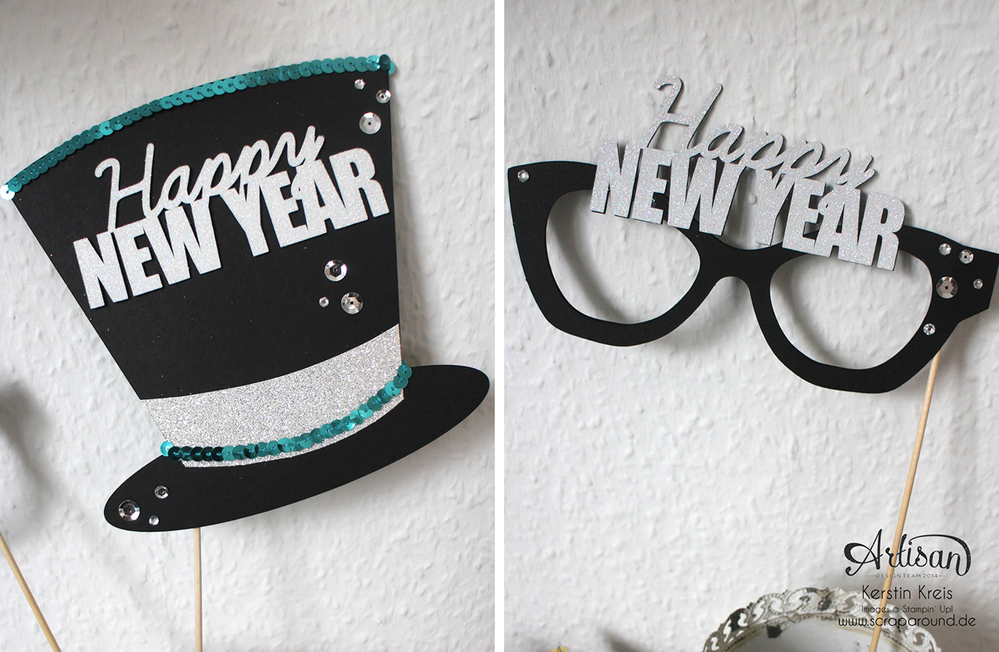Lustiger Photo Booth Accessoires mit Happy New Year.