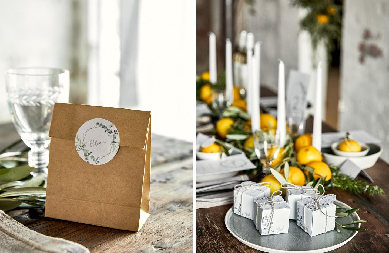 Hochzeitsdekotrend 2021: Geschenkboxen und -tüten für Gastgeschenke