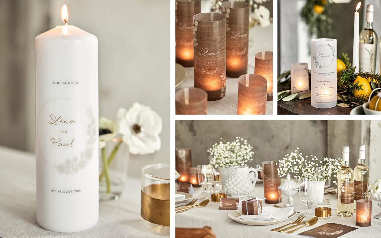 Hochzeitstisch Deko mit Kerzen. Individuelle Kerzen oder Teelichter