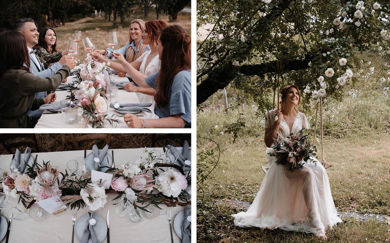 Kleine Hochzeiten draußen im eigenen Garten