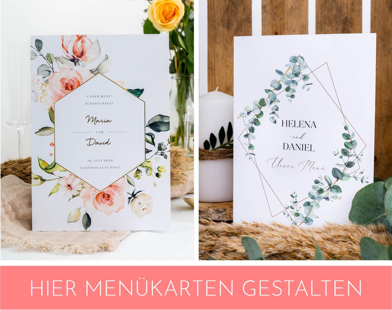 Menükarten mit floralem Design