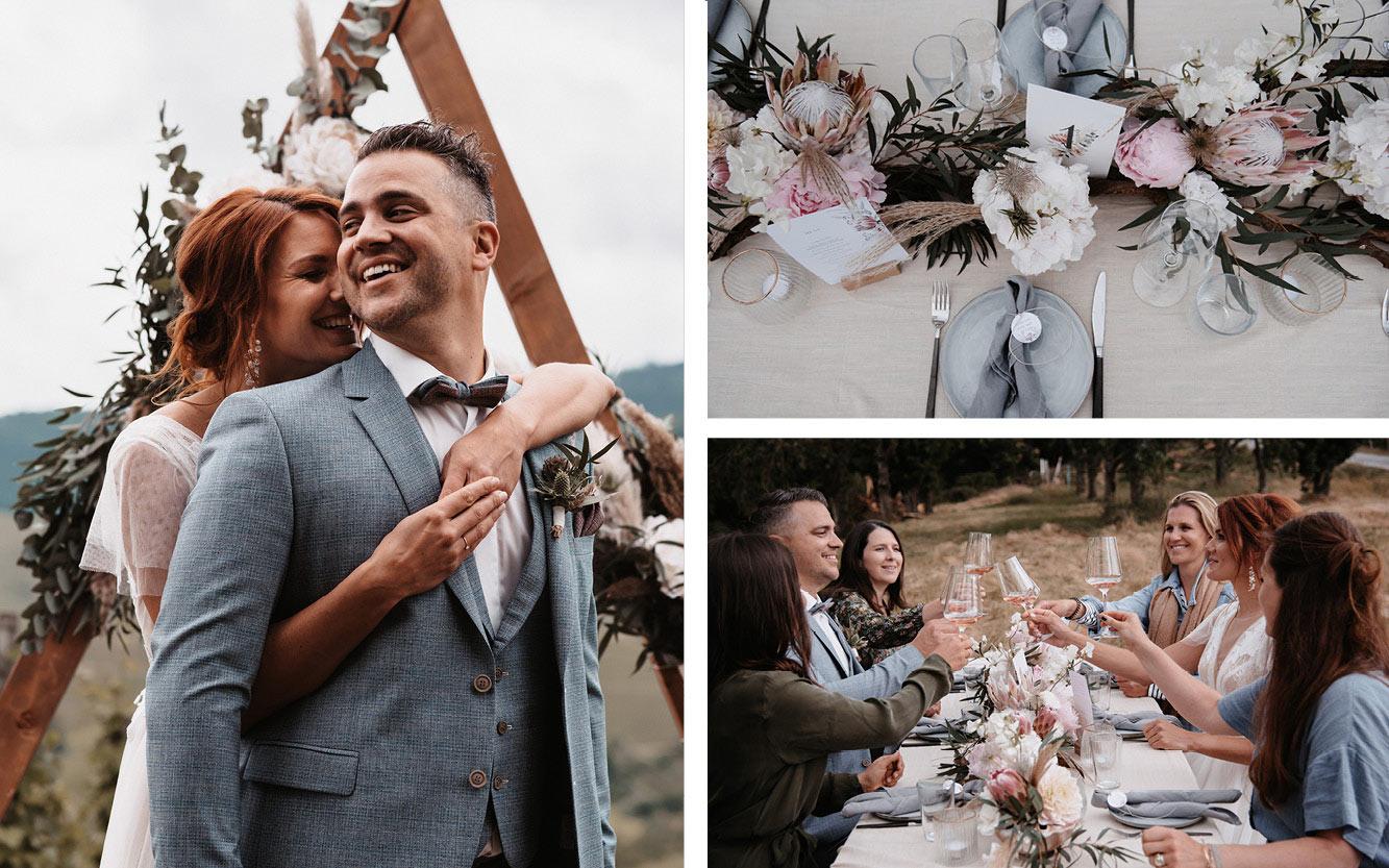 Kleine Hochzeit auf dem Weinberg  in Hügeln, Hochzeitsgesellschaft und Brautpaar