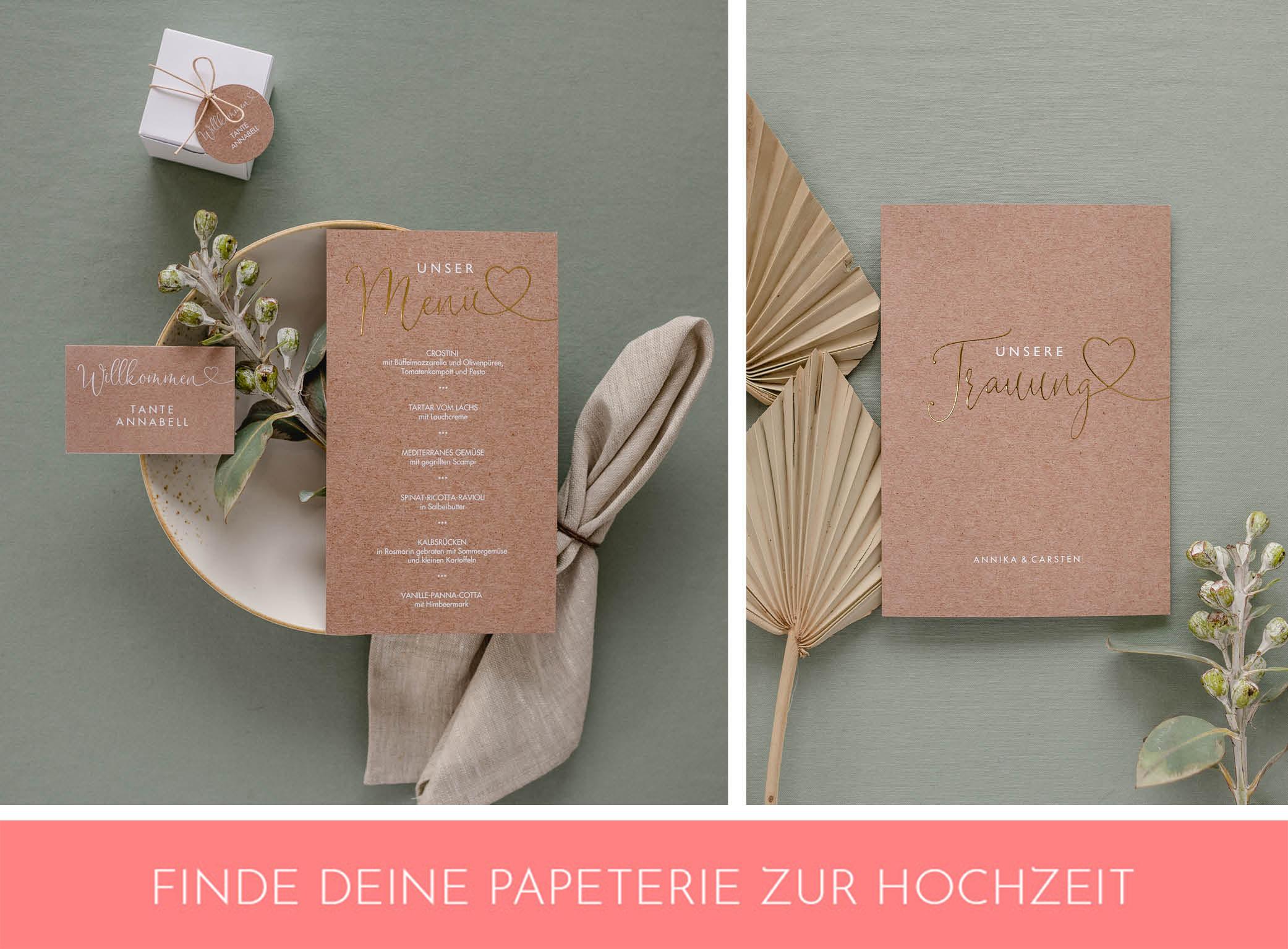 Papeterie zur Herbsthochzeit im Kraftpapier-Look