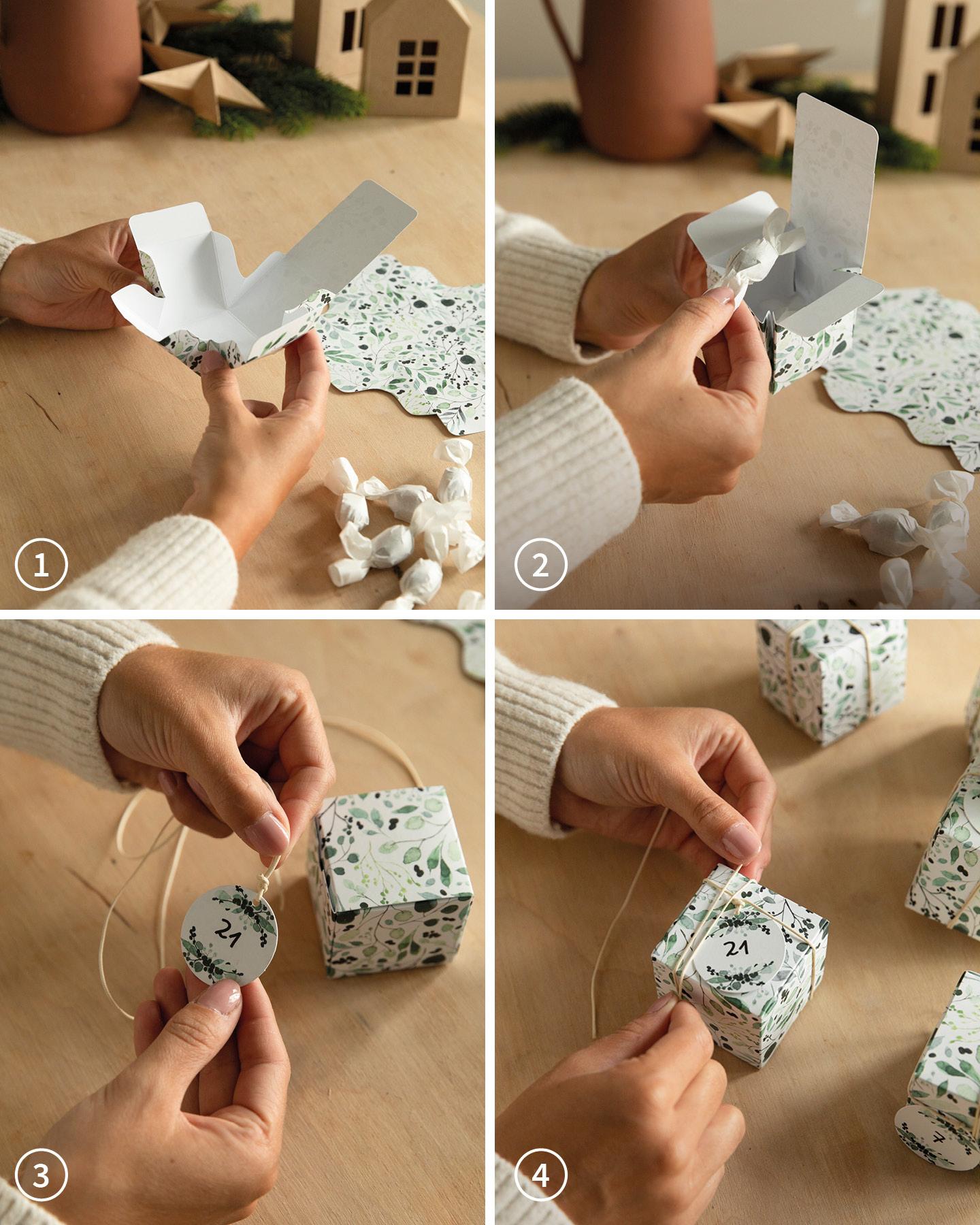 Papierboxen mit grünen Illustrationen werden zusammengefaltet und mit Süßigkeiten befüllt.