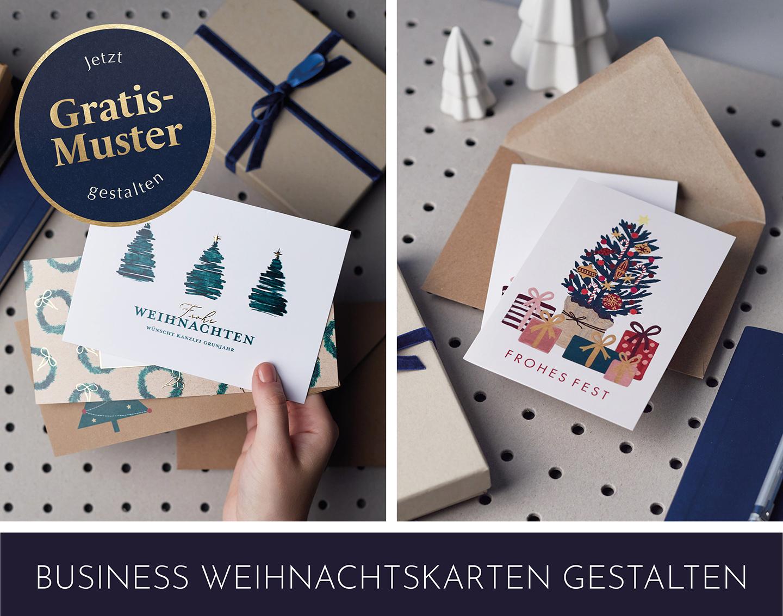 Collage mit schönen Weihnachtskarten als Weihnachtsgeschenk für Mitarbeiter