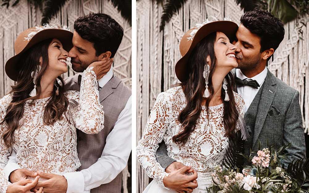 Das verliebte Brautpaar im modernen, legeren Boho-Look sieht beim Brautpaarshooting wunderschön aus. Die Deko aus Makramee ist der perfekte Hintergrund.
