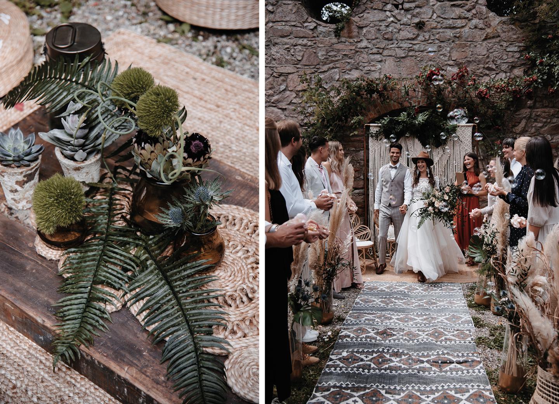 Boho Checkliste Hochzeitsdeko mit Sukkulenten, Pampasgras und Seifenblasen.