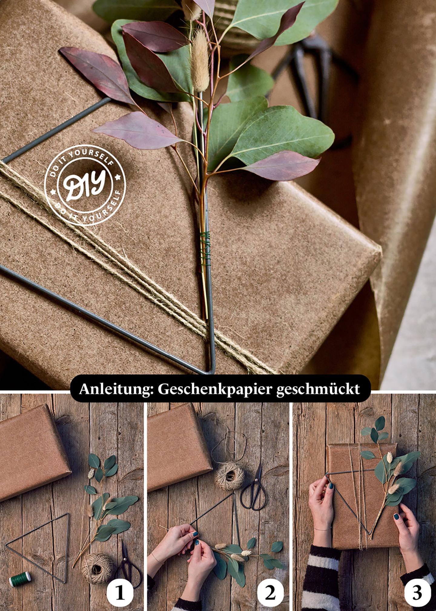 DIY Anleitung für Geschenkverpackungen, die man selber basteln kann. Das Geschnk wird einfach geschmückt mit Deko-Elementen